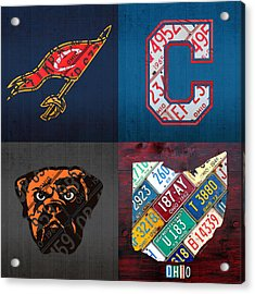 Cleveland Sports Fan Recycled Vintage Ohio License Plate Art Cavaliers Indians Browns And State Map Acrylic Print by Design Turnpike
