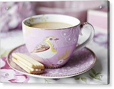 Close Up Of Cup Of Tea And Cookie Acrylic Print by Debby Lewis-Harrison
