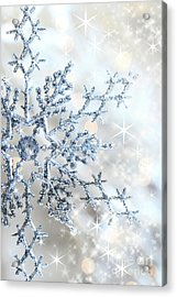 Closeup Of Snowflake Acrylic Print by Sandra Cunningham
