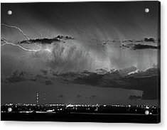 Cloud To Cloud Lightning Boulder County Colorado Bw Acrylic Print by James BO  Insogna