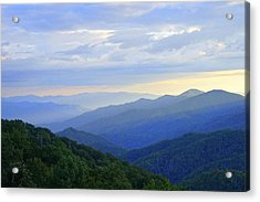 Clouds Over The Smokey's Acrylic Print by Laurie Perry