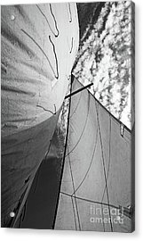 Cloudy Sky Seen Through Billowing White Sails Acrylic Print by Sami Sarkis