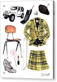 Clueless Movie Collage 90's Fashion Acrylic Print by Laura Row