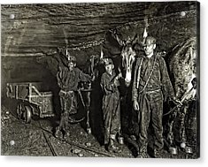 Coal Mine Mule Drivers  1908 Acrylic Print by Daniel Hagerman