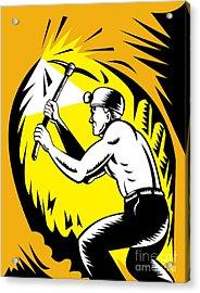 Coal Miner At Work Acrylic Print by Aloysius Patrimonio