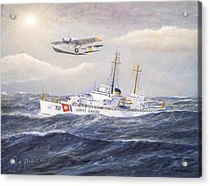 Coast Guard Cutter Pontchartrain And Coast Guard Aircraft  Acrylic Print by William H RaVell III