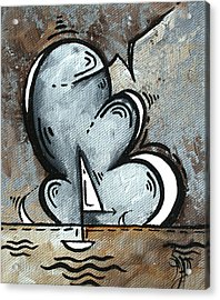 Coastal Art Contemporary Sailboat Painting Whimsical Design Silver Sea II By Madart Acrylic Print by Megan Duncanson