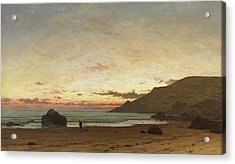 Coastal Scene With A Man And A Dog Acrylic Print by Frederick William Meyer
