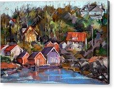 Coastal Village Acrylic Print by Joan  Jones