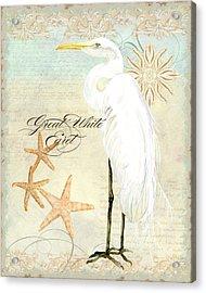 Coastal Waterways - Great White Egret 3 Acrylic Print by Audrey Jeanne Roberts