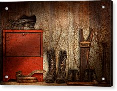 Cobbler - The Shoe Shiner 1900  Acrylic Print by Mike Savad