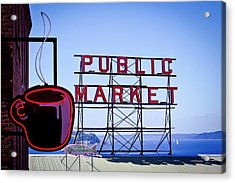 Coffee At The Market Acrylic Print by David Patterson