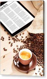 Coffee Enjoyment With News On Digital Media Acrylic Print by Wolfgang Steiner