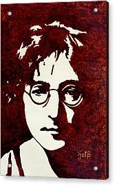 Coffee Painting John Lennon Acrylic Print by Georgeta  Blanaru