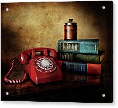 Cold War Red Telephone Acrylic Print by David and Carol Kelly