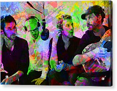 Coldplay Band Portrait Paint Splatters Pop Art Acrylic Print by Design Turnpike
