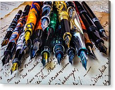 Collection Of Fountain Pens Acrylic Print by Garry Gay