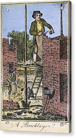 Colonial Bricklayer, 18th C Acrylic Print by Granger