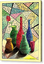 Color Drawing Of Vases With Flower Acrylic Print by Mario Perez