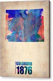 Colorado Watercolor Map Acrylic Print by Naxart Studio