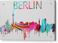 Colorful Berlin Skyline Silhouette Acrylic Print by Dan Sproul