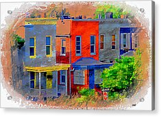 Colorful Block In Federal Hill, Baltimore, Md.  Acrylic Print by Chet  Dembeck