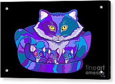 Colorful Cat And  Kittens Acrylic Print by Nick Gustafson