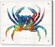 Colorful Crab Art By Sharon Cummings Acrylic Print by Sharon Cummings