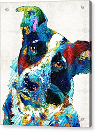 Colorful Dog Art - Irresistible - By Sharon Cummings Acrylic Print by Sharon Cummings