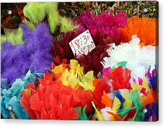Colorful Easter Feathers Acrylic Print by Linda Woods