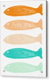 Colorful Fish Thank You Card Acrylic Print by Linda Woods