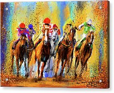 Colorful Horse Racing Impressionist Paintings Acrylic Print by Lourry Legarde
