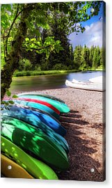 Colorful Kayaks Acrylic Print by Cat Connor