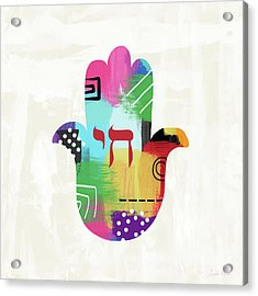 Colorful Life Hamsa- Art By Linda Woods Acrylic Print by Linda Woods