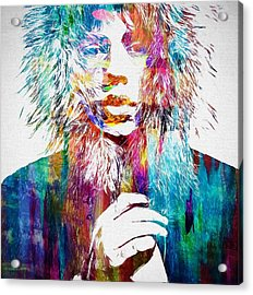 Colorful Mick Jagger Acrylic Print by Dan Sproul