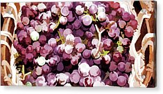 Colorful Pink Tasty Grapes In The Basket Acrylic Print by Lanjee Chee