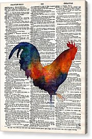 Colorful Rooster On Vintage Dictionary Acrylic Print by Hailey E Herrera