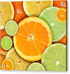 Colorful Round Citrius Fruit Background Acrylic Print by Angela Waye