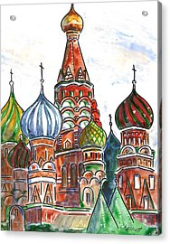 Colorful Shapes In A Red Square Acrylic Print by Marsha Elliott