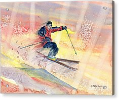 Colorful Skiing Art Acrylic Print by Melly Terpening