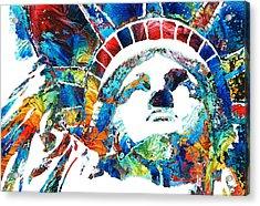 Colorful Statue Of Liberty - Sharon Cummings Acrylic Print by Sharon Cummings