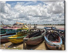 Colorful Wooden Boats In Paramaribo Acrylic Print by Patricia Hofmeester