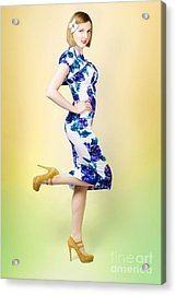 Colourful A Blond Retro Pinup Girl In High Heels Acrylic Print by Jorgo Photography - Wall Art Gallery