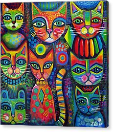 Fanciful Cat Acrylic Print featuring the painting Colourful Cats by Karin Zeller