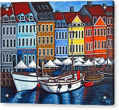 Colours Of Nyhavn Acrylic Print by Lisa  Lorenz