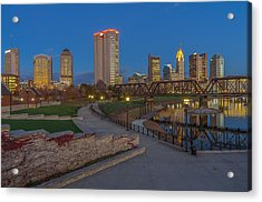 Columbus Ohio Skyline At Dusk Acrylic Print by Scott McGuire