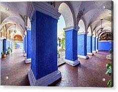 Columns In Santa Catalina Monastery Acrylic Print by Jess Kraft