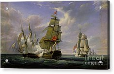 Combat Between The French Frigate La Canonniere And The English Vessel The Tremendous Acrylic Print by Pierre Julien Gilbert