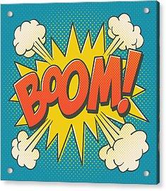 Comic Boom On Blue Acrylic Print by Mitch Frey