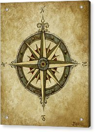 Compass Rose Acrylic Print by Judy Merrell